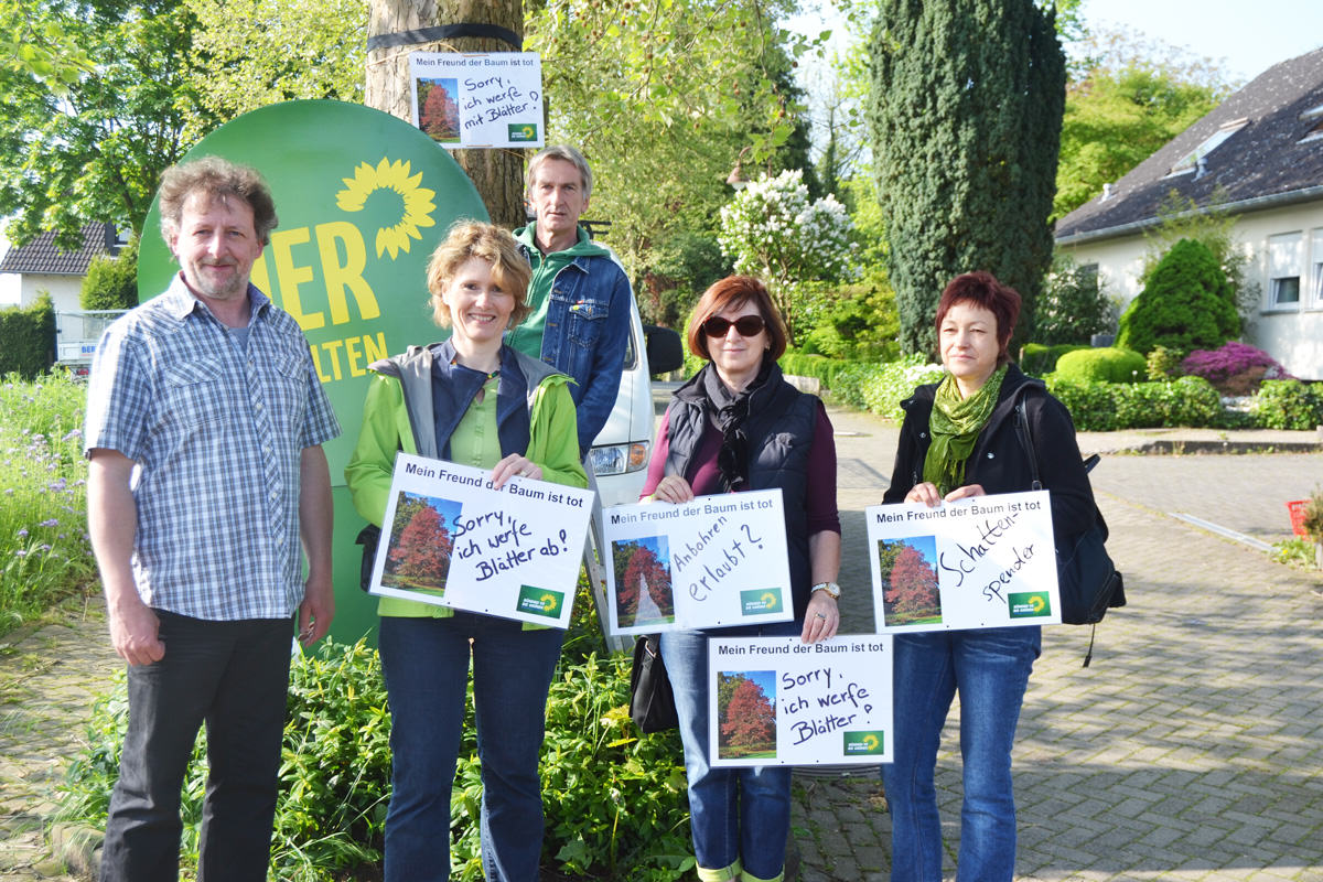 Sind gegen die Baumfällungen: Mathias Heeb, Hubert Borgschulte, Eveline Lemke, Anne Lenhard-Poser und Bernadette Heeb-Klöckner (von links) von den Grünen