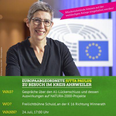 Jutta Paulus, Mitglied des Europäischen Parlaments, Fraktion Die GRÜNEN/EFA ist am 24.07. ab 17 Uhr zu Gast in Schuld.