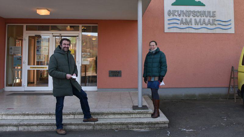 Stefani Jürries und Johannes Pinn an der GS Niederdürenbach